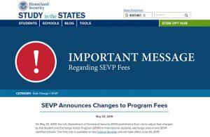SEVIS費用 $350へ値上がり – 2019年6月24日より