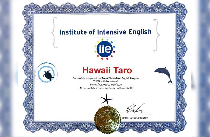 IIE Hawaii Certificate