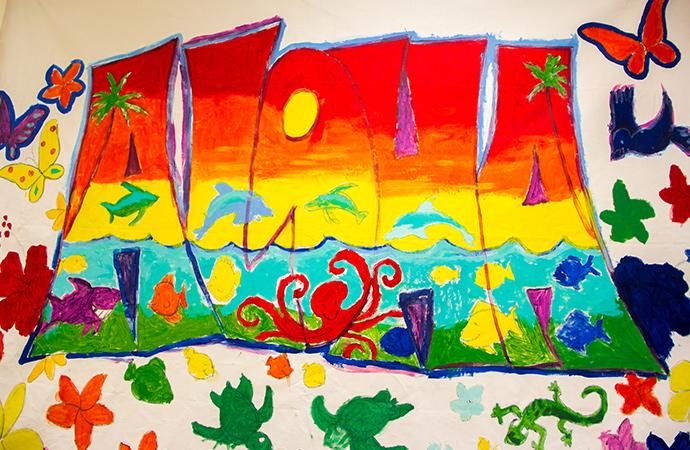 サマープログラムの子どもたちが書いたハワイ愛あふれる絵